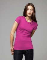 Sheer RibCrew Neck T-Shirt Berry