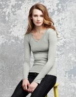 Damen Langarm T-Shirt, granit, Größe:: XL