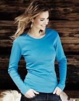 Damen Langarm Interlock T-Shirt Azur, Größe: S
