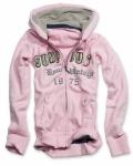 Ladies Hoodie mit Zipper rosa / Kapuzensweatjacke
