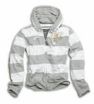 Stripe Hoodi grau/weiß / Kapuzensweatshirt