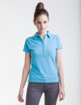 Ladies Short Sleeve Stretch Polo Surf Blue